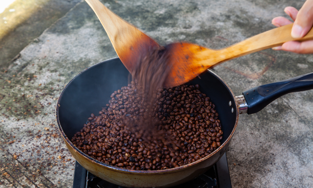 How would the roasting time of coffee beans affect their caffeine content?